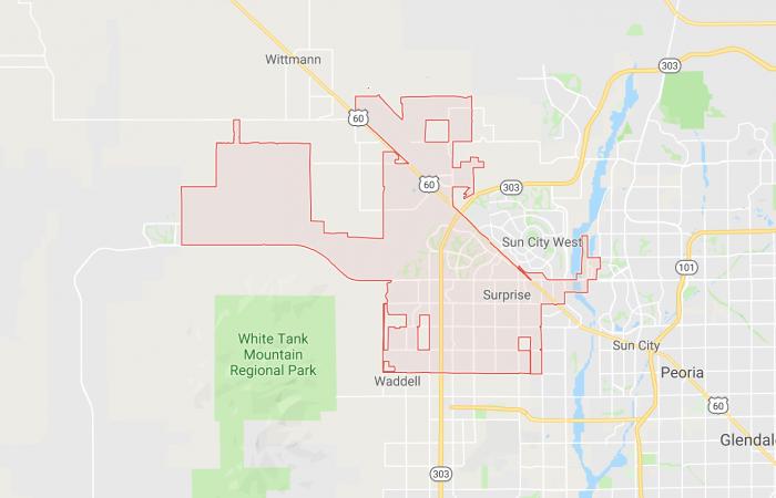 Car Key Replacement Surprise Service Area Map